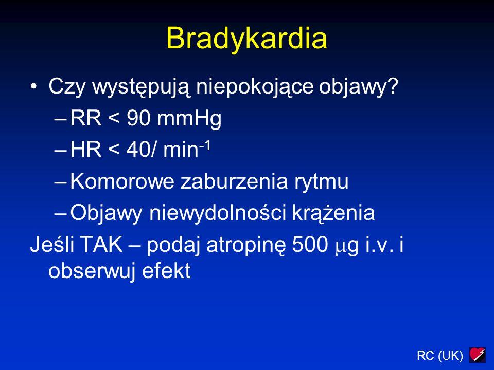 Bradykardia Czy występują niepokojące objawy RR < 90 mmHg