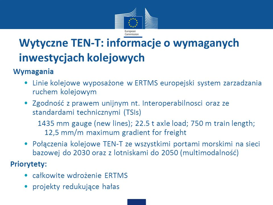 Wytyczne TEN-T: informacje o wymaganych inwestycjach kolejowych
