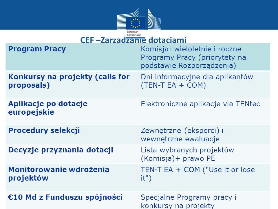CEF –Zarzadzanie dotacjami