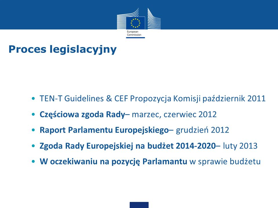 Proces legislacyjny TEN-T Guidelines & CEF Propozycja Komisji październik 2011. Częściowa zgoda Rady– marzec, czerwiec 2012.
