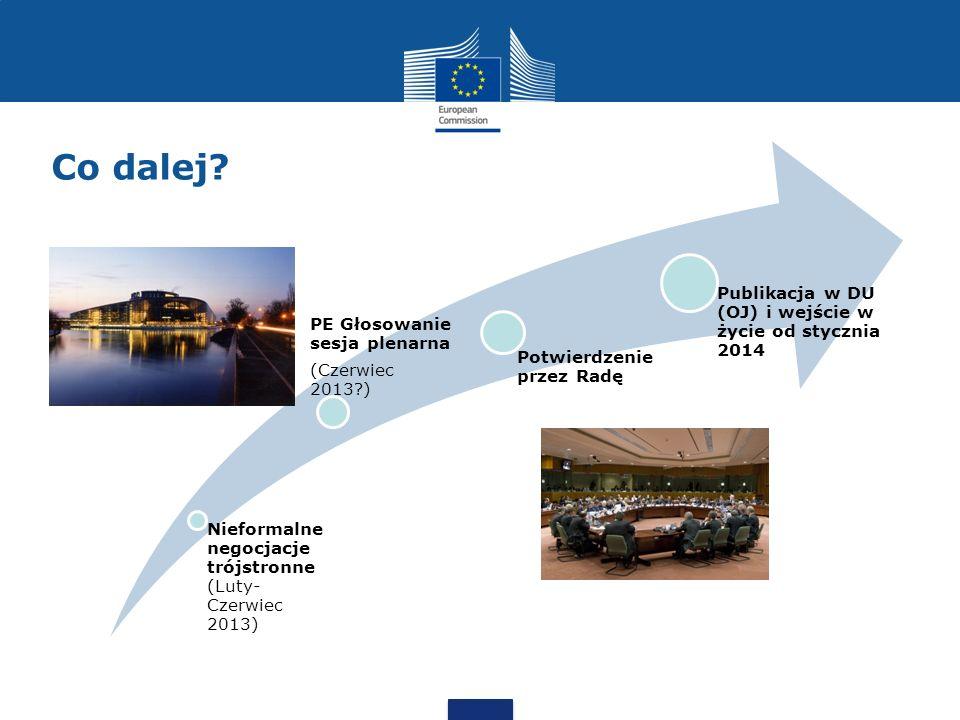Co dalej Publikacja w DU (OJ) i wejście w życie od stycznia 2014