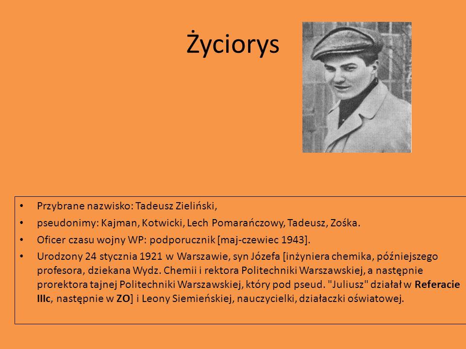 Życiorys Przybrane nazwisko: Tadeusz Zieliński,