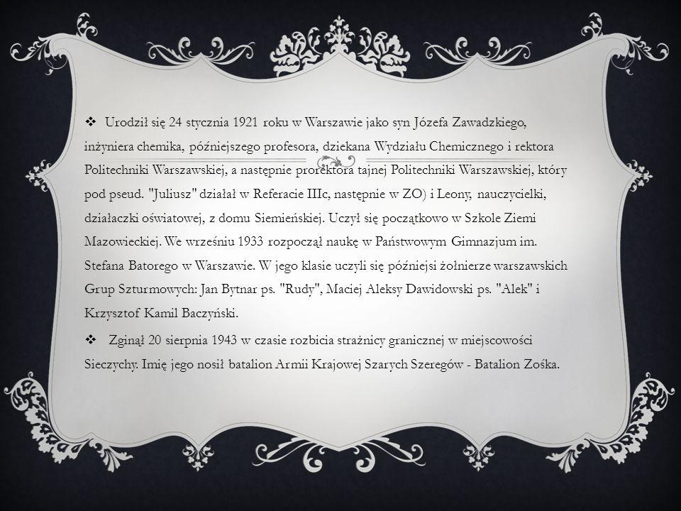 Urodził się 24 stycznia 1921 roku w Warszawie jako syn Józefa Zawadzkiego, inżyniera chemika, późniejszego profesora, dziekana Wydziału Chemicznego i rektora Politechniki Warszawskiej, a następnie prorektora tajnej Politechniki Warszawskiej, który pod pseud. Juliusz działał w Referacie IIIc, następnie w ZO) i Leony, nauczycielki, działaczki oświatowej, z domu Siemieńskiej. Uczył się początkowo w Szkole Ziemi Mazowieckiej. We wrześniu 1933 rozpoczął naukę w Państwowym Gimnazjum im. Stefana Batorego w Warszawie. W jego klasie uczyli się późniejsi żołnierze warszawskich Grup Szturmowych: Jan Bytnar ps. Rudy , Maciej Aleksy Dawidowski ps. Alek i Krzysztof Kamil Baczyński.