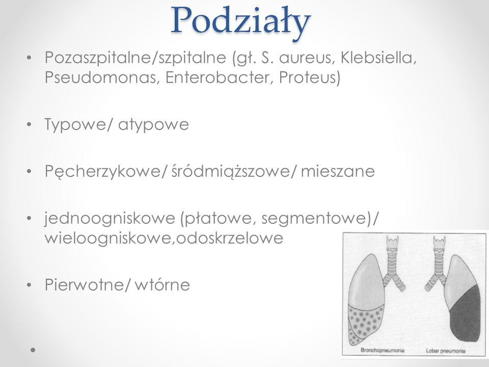 Podziały Pozaszpitalne/szpitalne (gł. S. aureus, Klebsiella, Pseudomonas, Enterobacter, Proteus) Typowe/ atypowe.