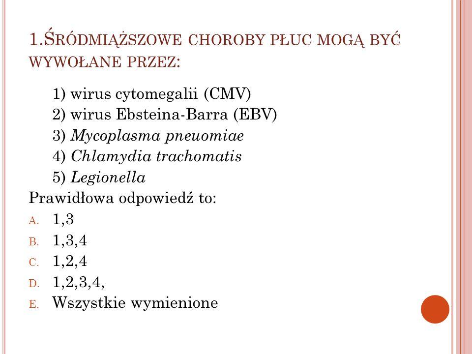 1.Śródmiąższowe choroby płuc mogą być wywołane przez: