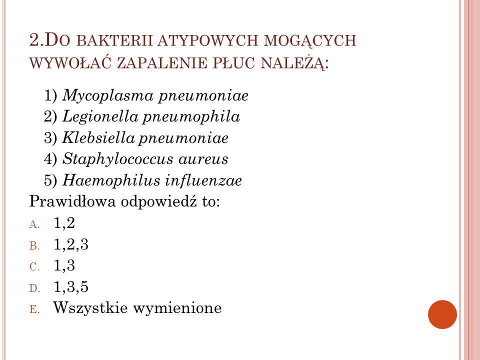 2.Do bakterii atypowych mogących wywołać zapalenie płuc należą: