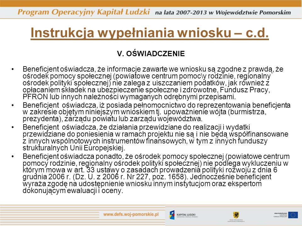 Instrukcja wypełniania wniosku – c.d.