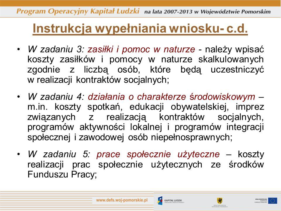 Instrukcja wypełniania wniosku- c.d.