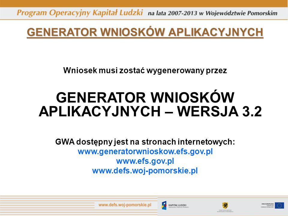 GENERATOR WNIOSKÓW APLIKACYJNYCH – WERSJA 3.2