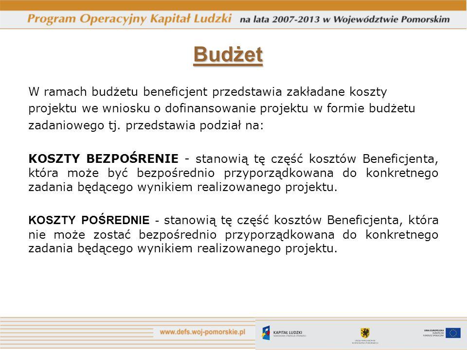 Budżet W ramach budżetu beneficjent przedstawia zakładane koszty