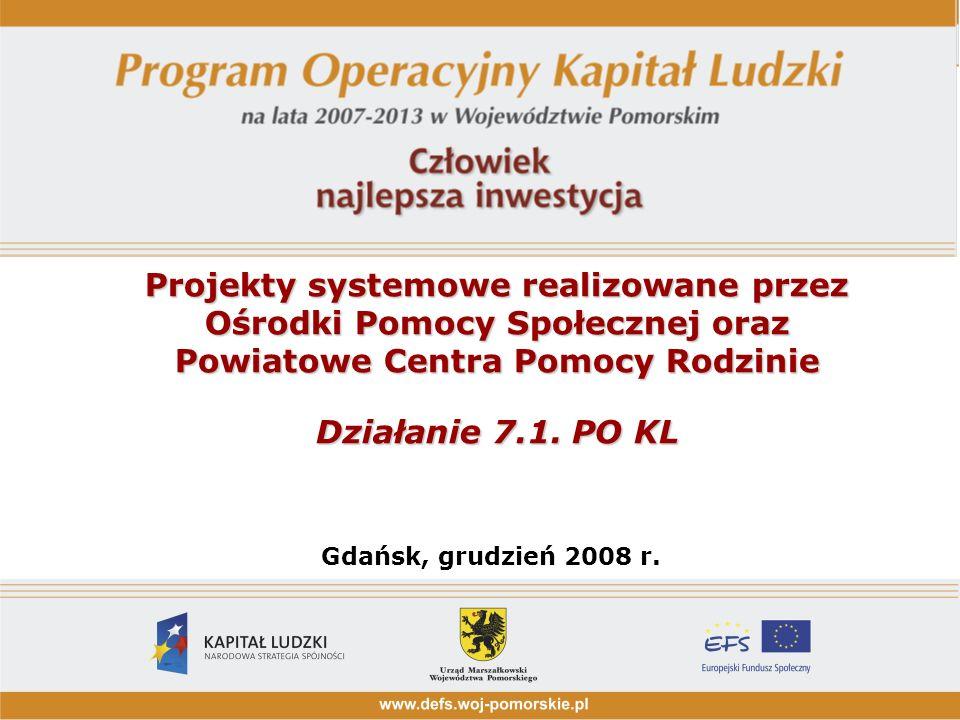 Projekty systemowe realizowane przez Ośrodki Pomocy Społecznej oraz Powiatowe Centra Pomocy Rodzinie Działanie 7.1. PO KL