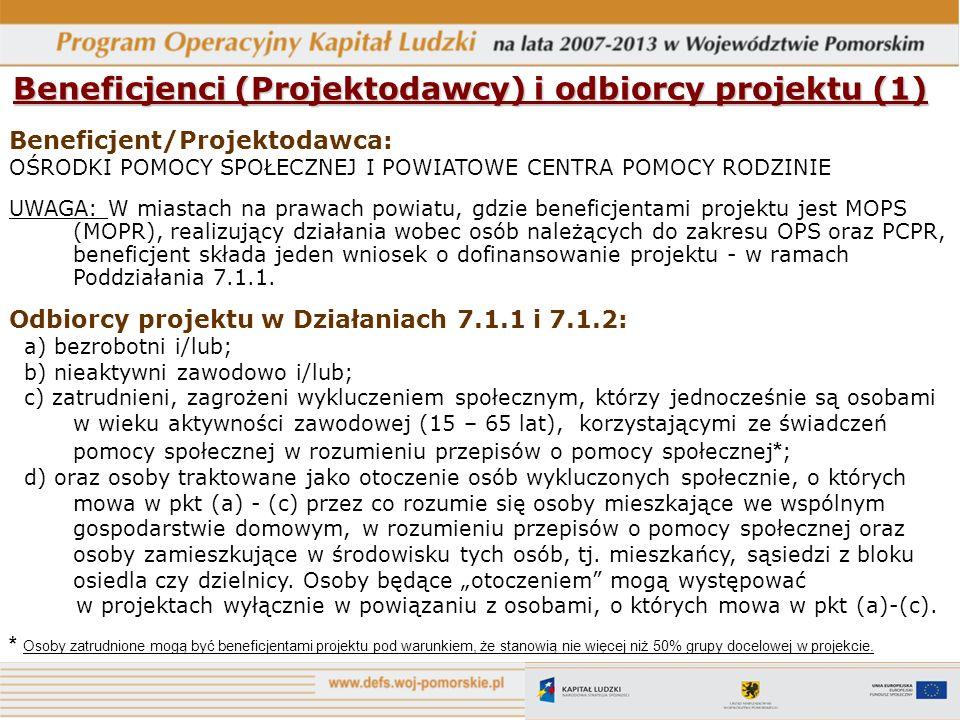 Beneficjenci (Projektodawcy) i odbiorcy projektu (1)