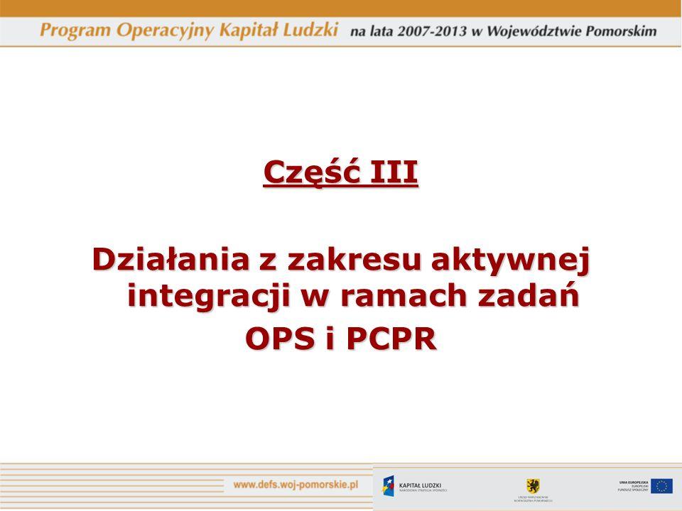 Działania z zakresu aktywnej integracji w ramach zadań