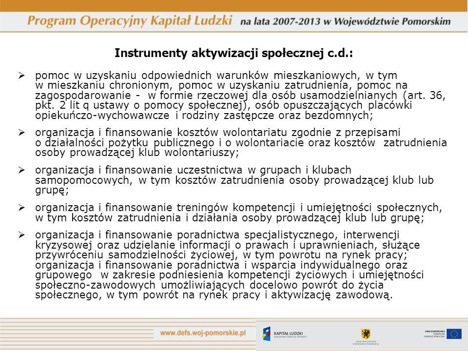 Instrumenty aktywizacji społecznej c.d.: