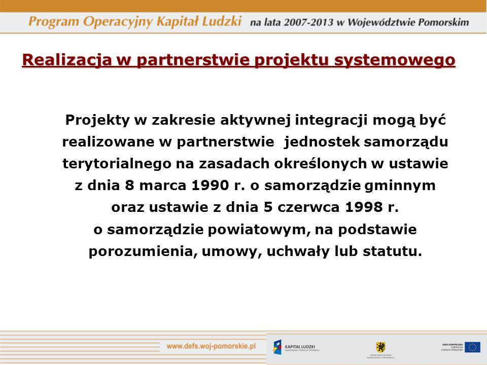 Realizacja w partnerstwie projektu systemowego