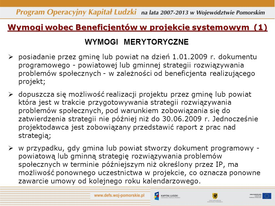 Wymogi wobec Beneficjentów w projekcie systemowym (1)
