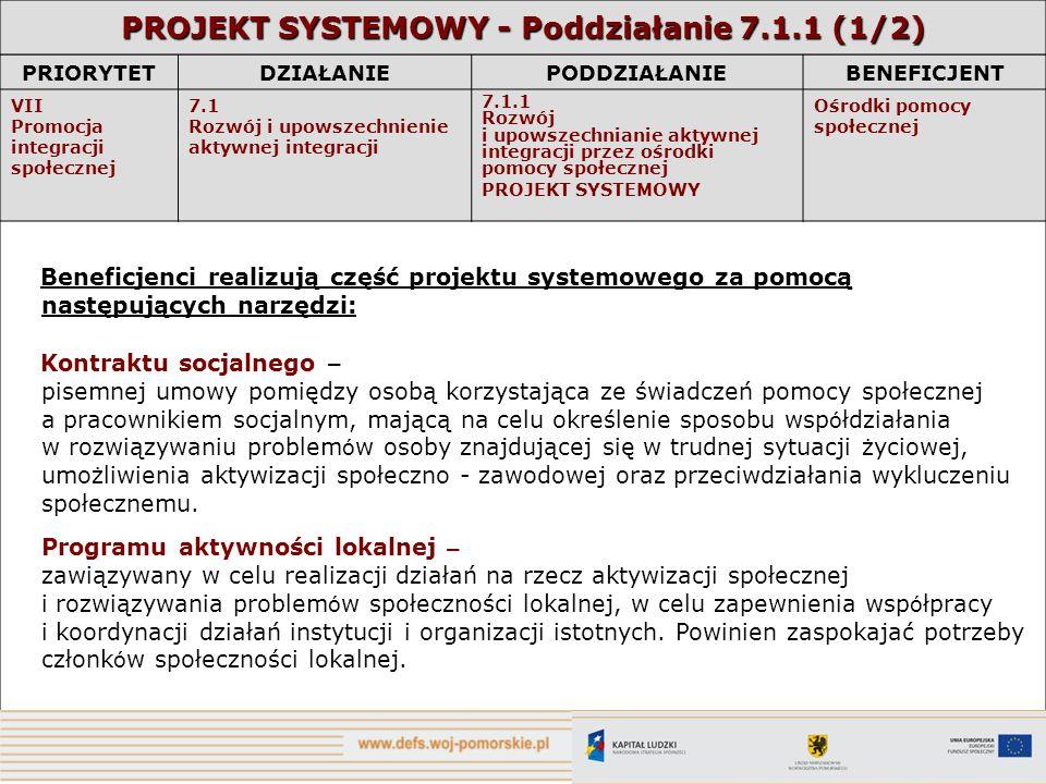 PROJEKT SYSTEMOWY - Poddziałanie 7.1.1 (1/2)