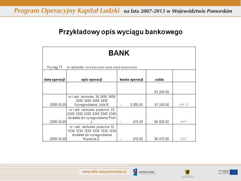Przykładowy opis wyciągu bankowego