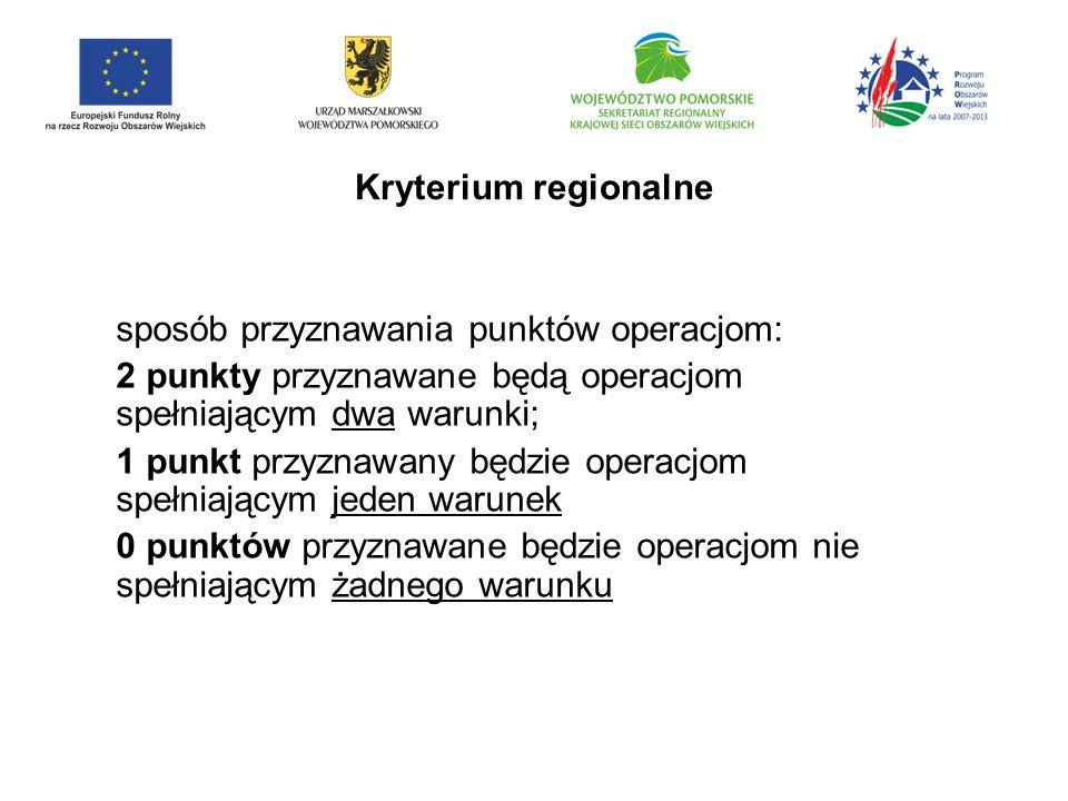 Kryterium regionalne sposób przyznawania punktów operacjom: 2 punkty przyznawane będą operacjom spełniającym dwa warunki;