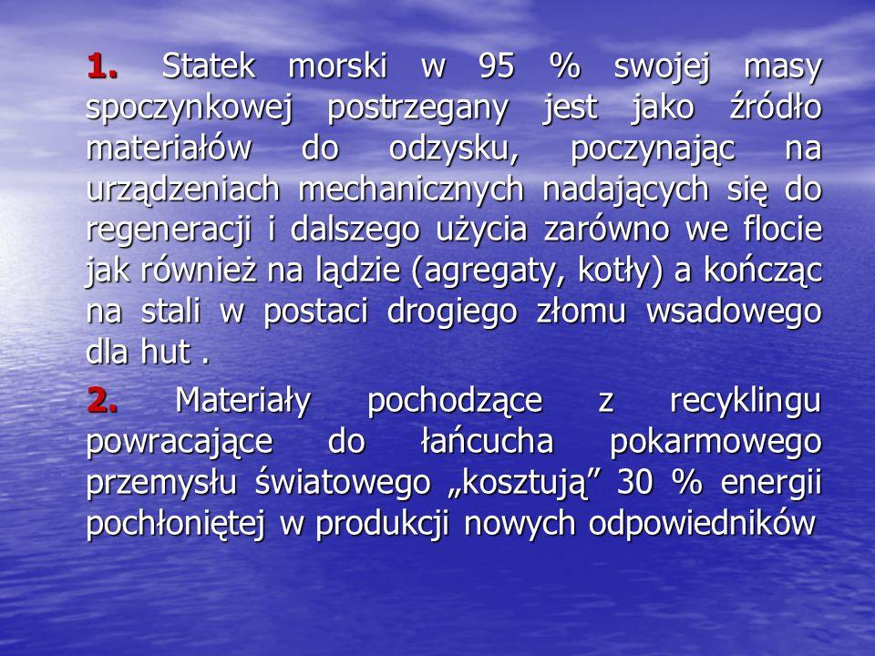 1. Statek morski w 95 % swojej masy spoczynkowej postrzegany jest jako źródło materiałów do odzysku, poczynając na urządzeniach mechanicznych nadających się do regeneracji i dalszego użycia zarówno we flocie jak również na lądzie (agregaty, kotły) a kończąc na stali w postaci drogiego złomu wsadowego dla hut .