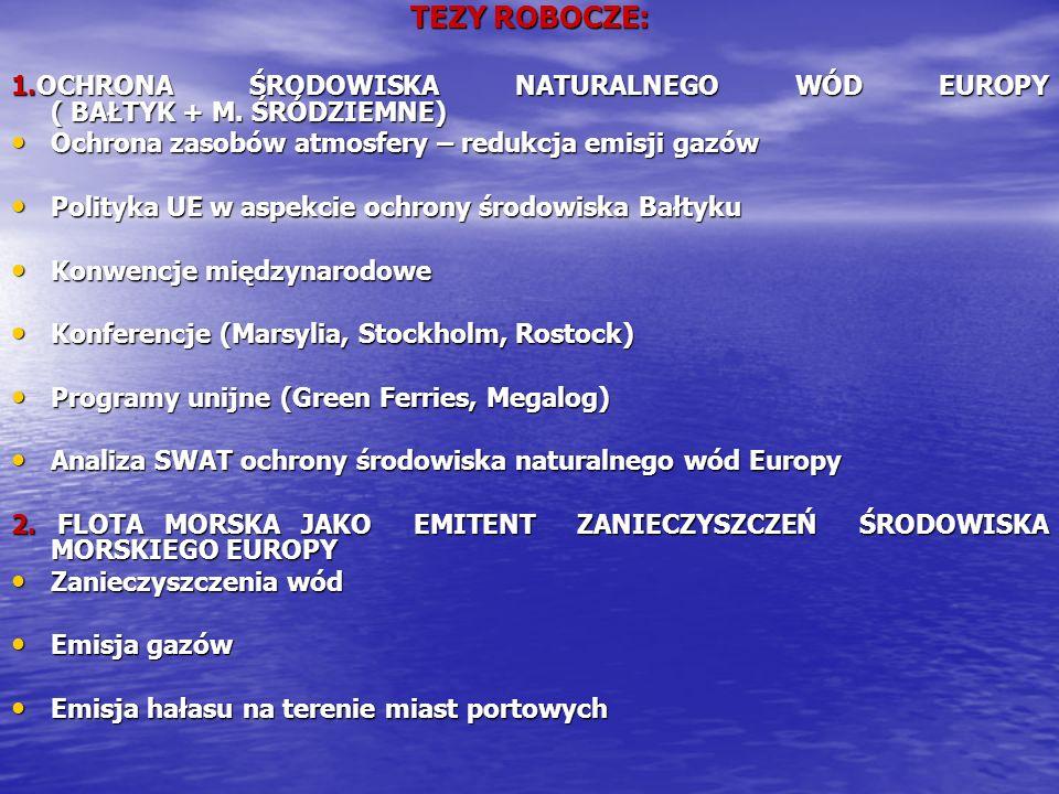 TEZY ROBOCZE:1.OCHRONA ŚRODOWISKA NATURALNEGO WÓD EUROPY ( BAŁTYK + M. ŚRÓDZIEMNE) Ochrona zasobów atmosfery – redukcja emisji gazów.
