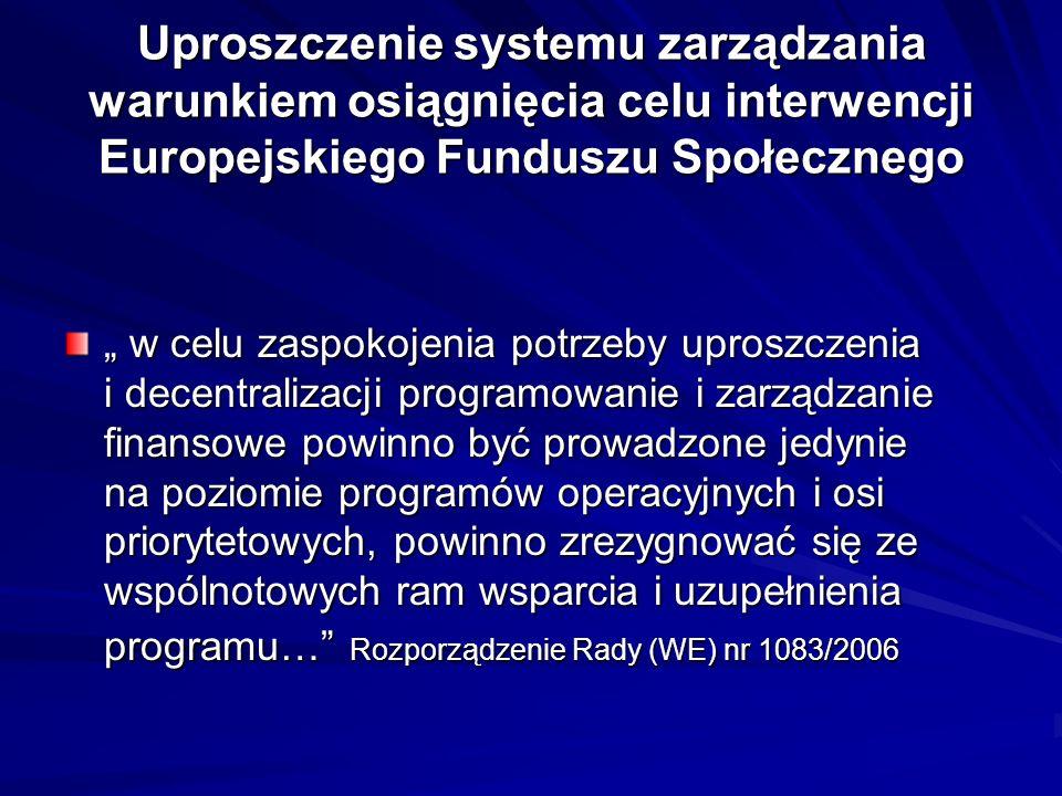 Uproszczenie systemu zarządzania warunkiem osiągnięcia celu interwencji Europejskiego Funduszu Społecznego