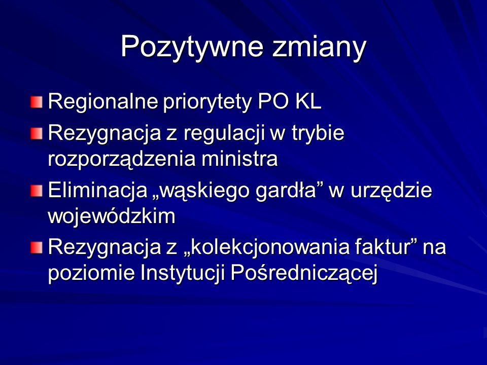 Pozytywne zmiany Regionalne priorytety PO KL
