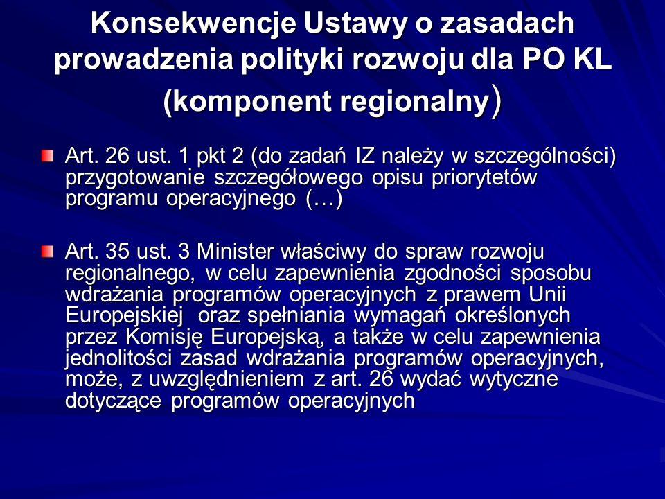 Konsekwencje Ustawy o zasadach prowadzenia polityki rozwoju dla PO KL (komponent regionalny)