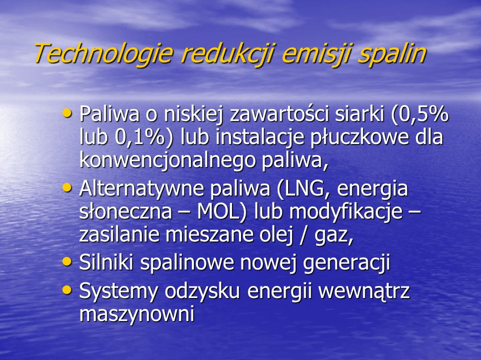 Technologie redukcji emisji spalin