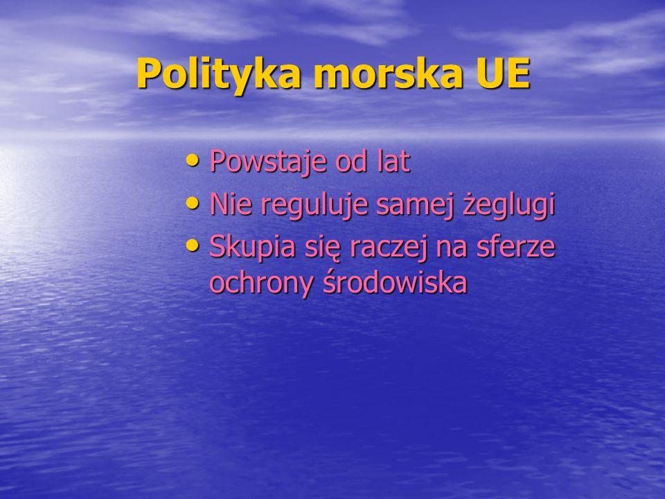 Polityka morska UE Powstaje od lat Nie reguluje samej żeglugi
