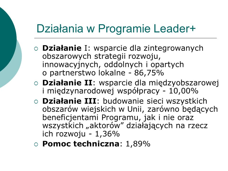 Działania w Programie Leader+