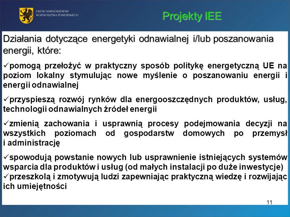 Projekty IEE Działania dotyczące energetyki odnawialnej i/lub poszanowania energii, które: