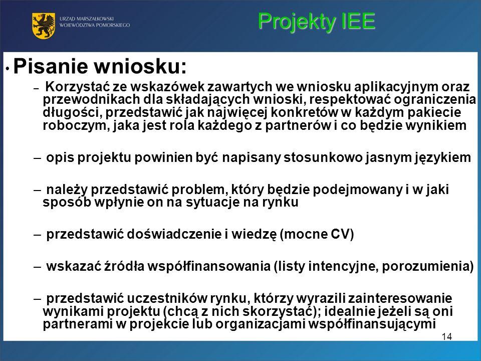 Projekty IEE Pisanie wniosku: