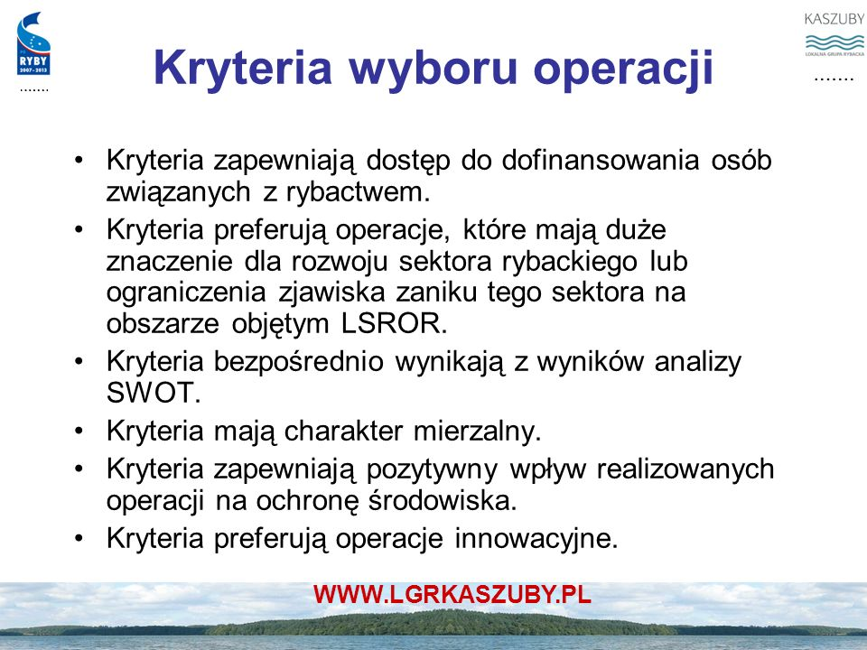 Kryteria wyboru operacji