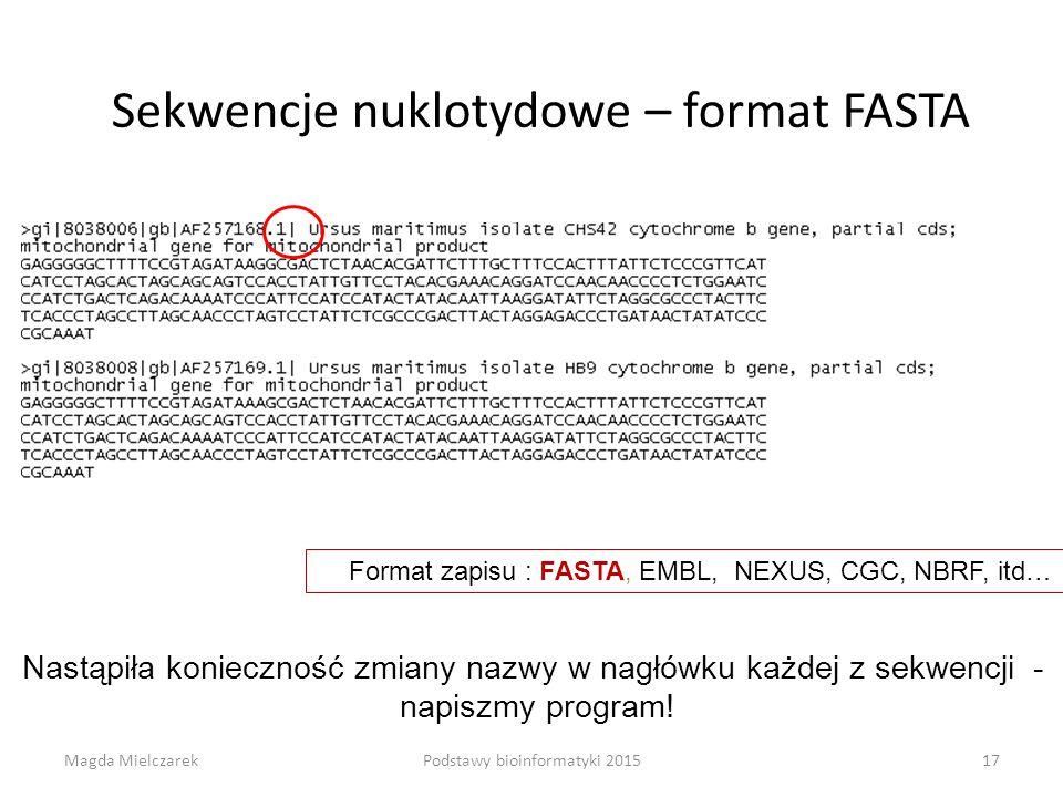 Sekwencje nuklotydowe – format FASTA