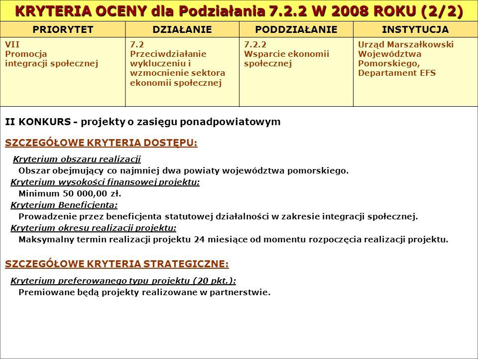 KRYTERIA OCENY dla Podziałania 7.2.2 W 2008 ROKU (2/2)
