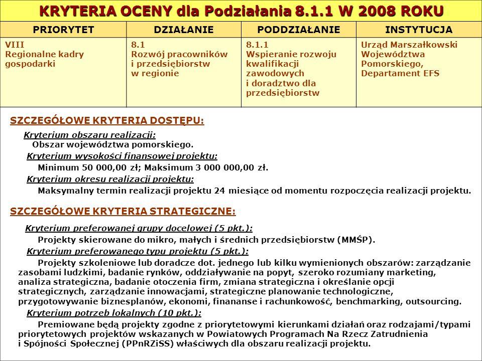 KRYTERIA OCENY dla Podziałania 8.1.1 W 2008 ROKU