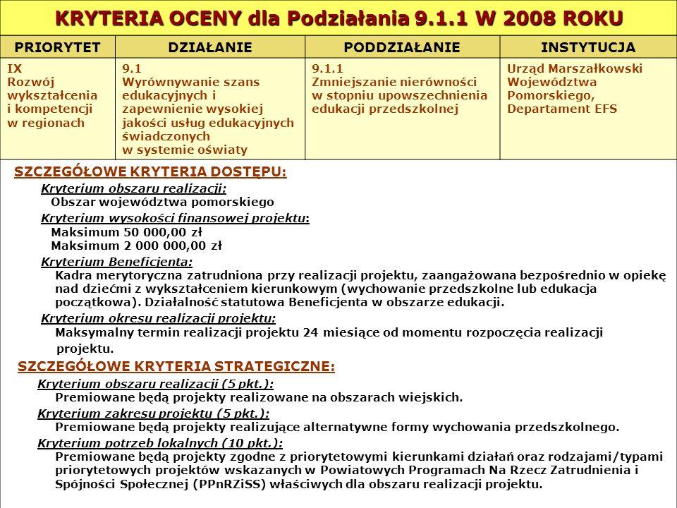 KRYTERIA OCENY dla Podziałania 9.1.1 W 2008 ROKU