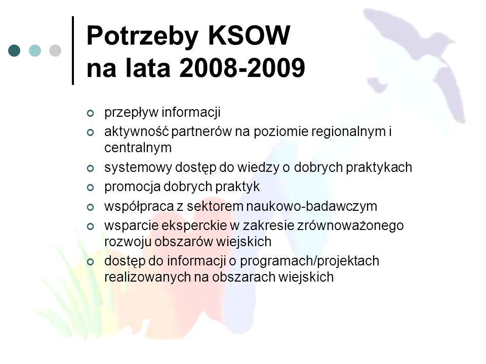 Potrzeby KSOW na lata 2008-2009 przepływ informacji