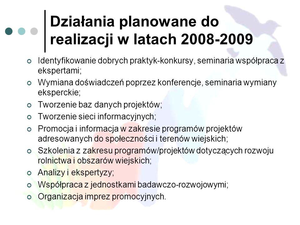 Działania planowane do realizacji w latach 2008-2009