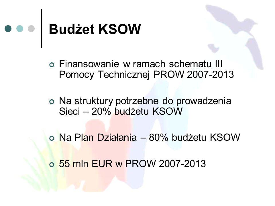 Budżet KSOW Finansowanie w ramach schematu III Pomocy Technicznej PROW 2007-2013. Na struktury potrzebne do prowadzenia Sieci – 20% budżetu KSOW.