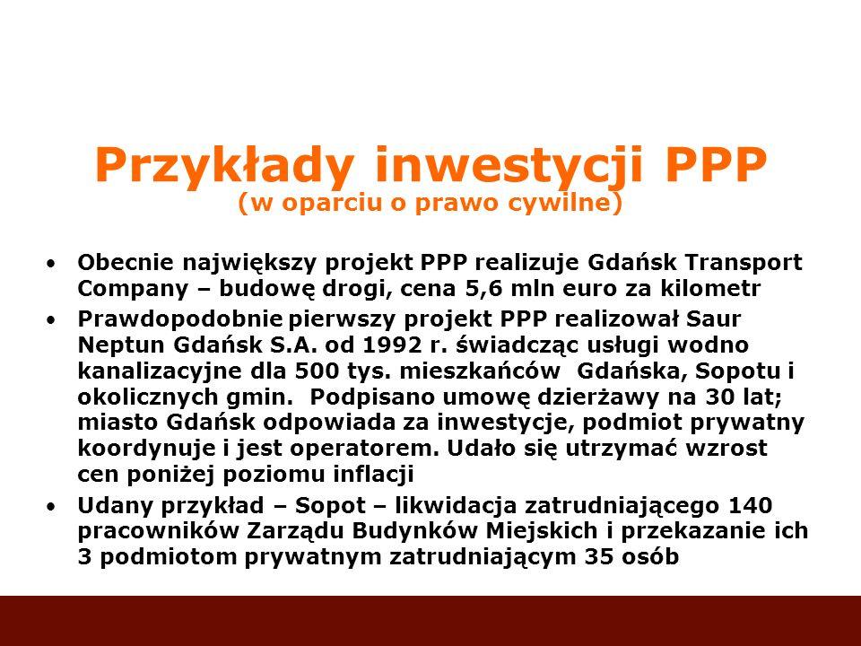 Przykłady inwestycji PPP (w oparciu o prawo cywilne)