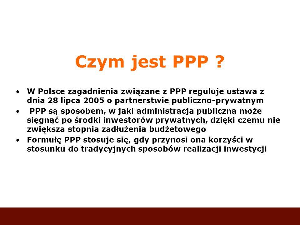 Czym jest PPP W Polsce zagadnienia związane z PPP reguluje ustawa z dnia 28 lipca 2005 o partnerstwie publiczno-prywatnym.