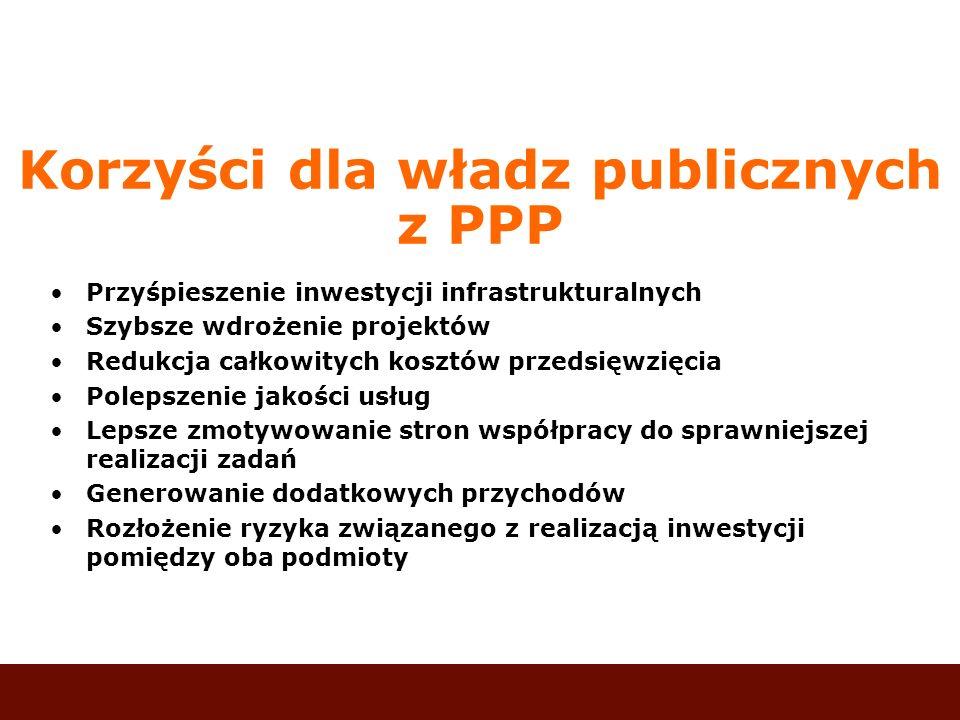 Korzyści dla władz publicznych z PPP