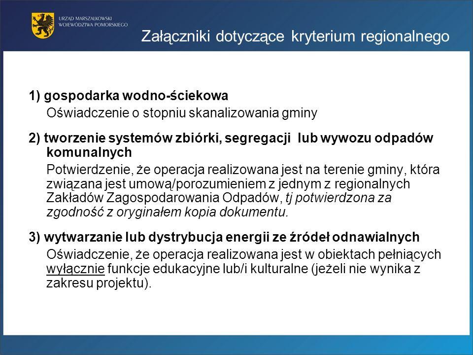 Załączniki dotyczące kryterium regionalnego