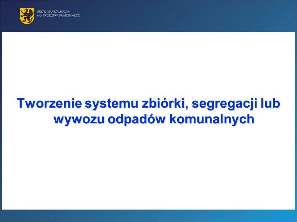 Tworzenie systemu zbiórki, segregacji lub wywozu odpadów komunalnych