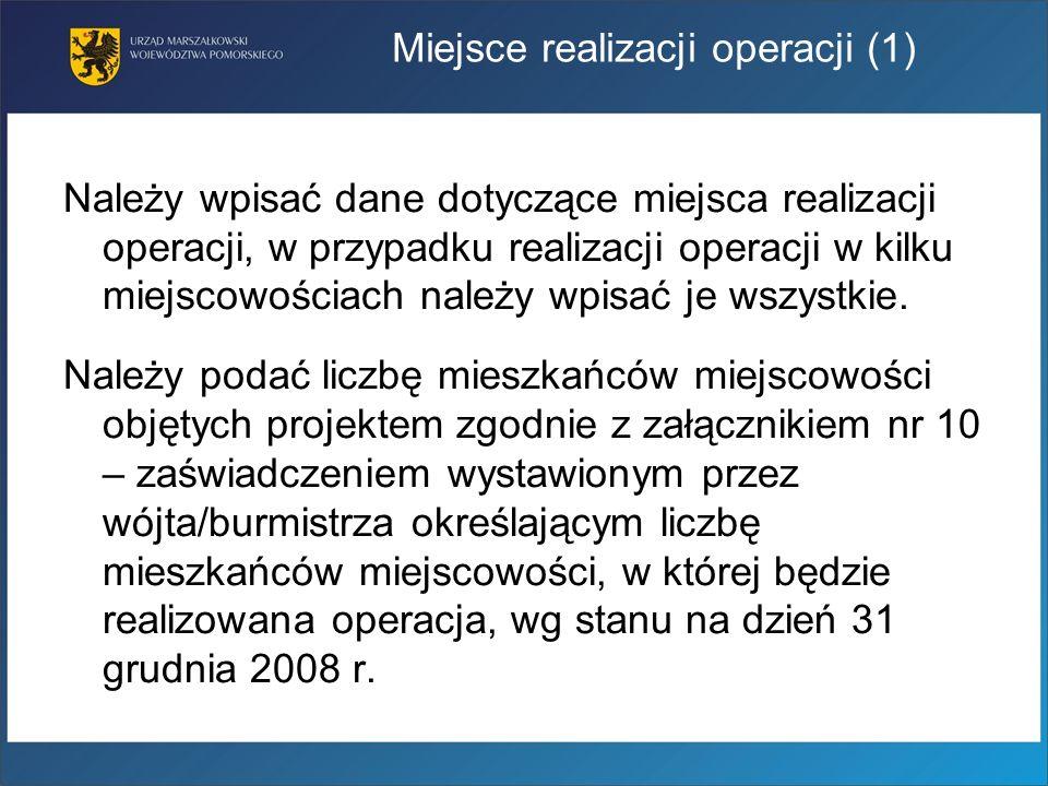 Miejsce realizacji operacji (1)