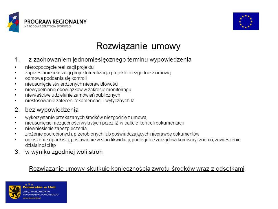 Rozwiązanie umowy z zachowaniem jednomiesięcznego terminu wypowiedzenia. nierozpoczęcie realizacji projektu.