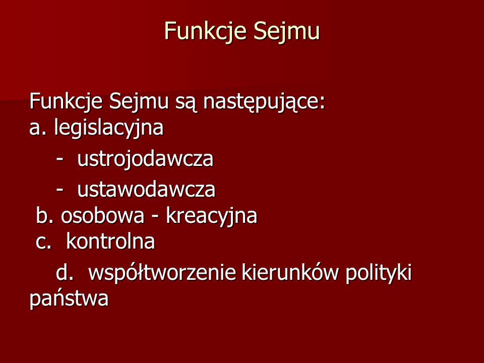 Funkcje Sejmu Funkcje Sejmu są następujące: a. legislacyjna