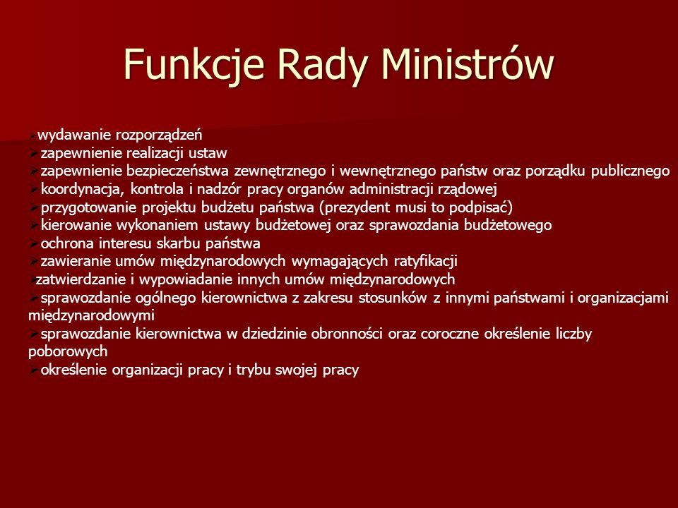 Funkcje Rady Ministrów